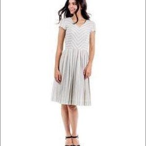 DOWN EAST Linen Cape Cod striped Dress NWT Large